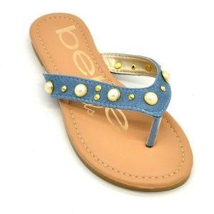 BeBe Girls Thong Sandals Size 1 Blue New